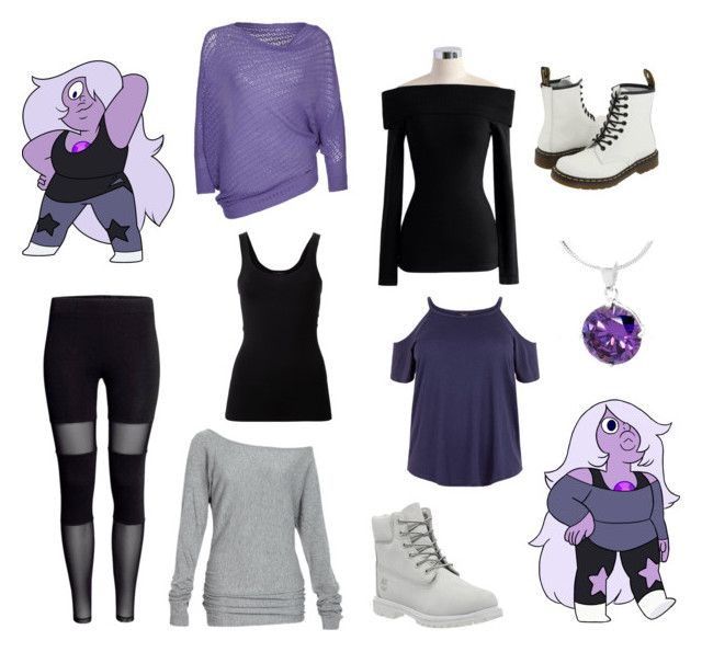 """Steven Universe - Amethyst"" by icancatchstars ❤ liked on Polyvore featuring Theory, Alloy Apparel, Chicwish, Annarita N., Timberland and Dr. Martens"