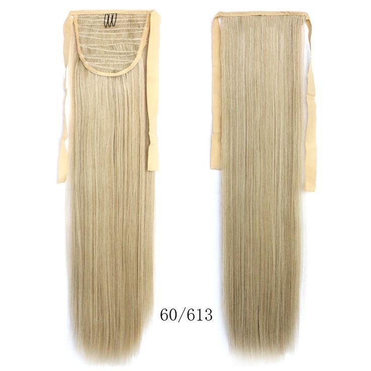 60 см жаропрочных синтетические волосы женщины дамы ну вечеринку костюм длинные прямые сексуальная блондинка хвост расширение бесплатная доставка