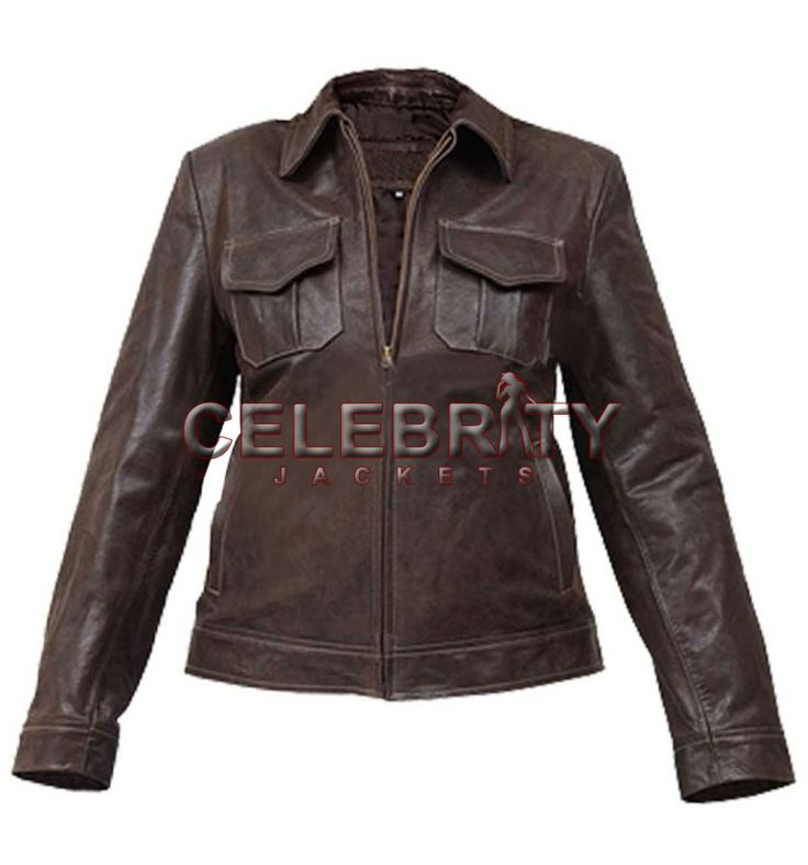 women distressed leather brown jacket