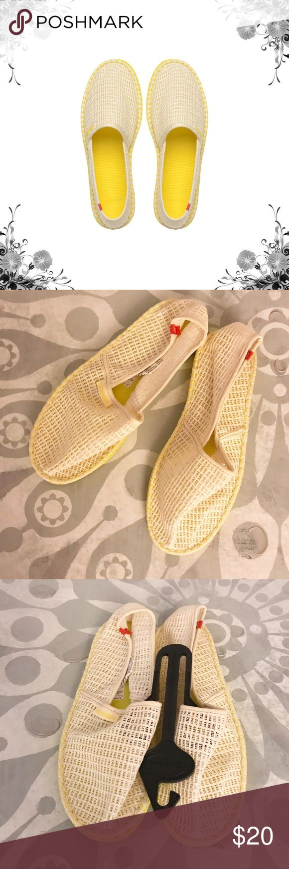 Havainas Origine Summer Espadrille Beige/Yellow. Brazil's original and authentic flip flop has a new companion! Containing the same rubber sole used as the flip flop, this jute and canvas espadrille screams warm weather while providing comfort and function. Slip On. Textile Upper/Manmade Sole. Lightweight. Bundle for discounts! Thank you for shopping my closet! Havaianas Shoes Espadrilles
