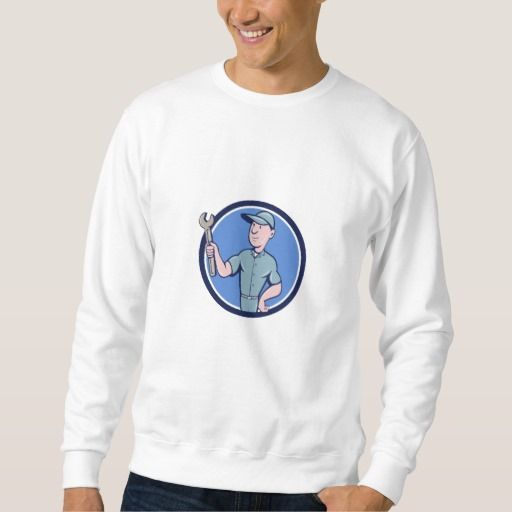 Handyman Holding Spanner Circle Cartoon Sweatshirt. Illustration of a repairman handyman worker wearing hat holding spanner wrench looking to the side set inside circle done in cartoon style. #Illustration #HandymanHoldingSpanner