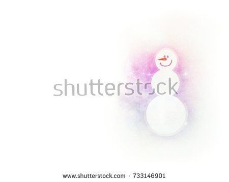 Snowman on white and a bit blue-pink watercolor background. Winter holiday season.