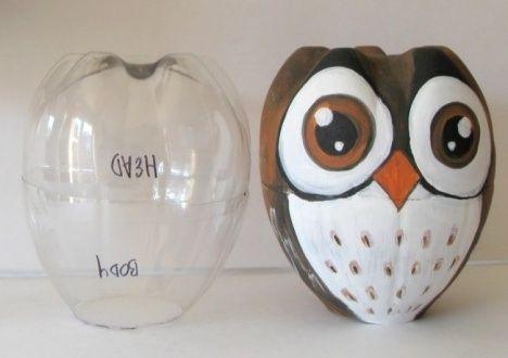 Coruja de Garrafa Pet - Plastic Bottles - DIY - Reciclagem de Garrafas PET e Embalagens diversas!