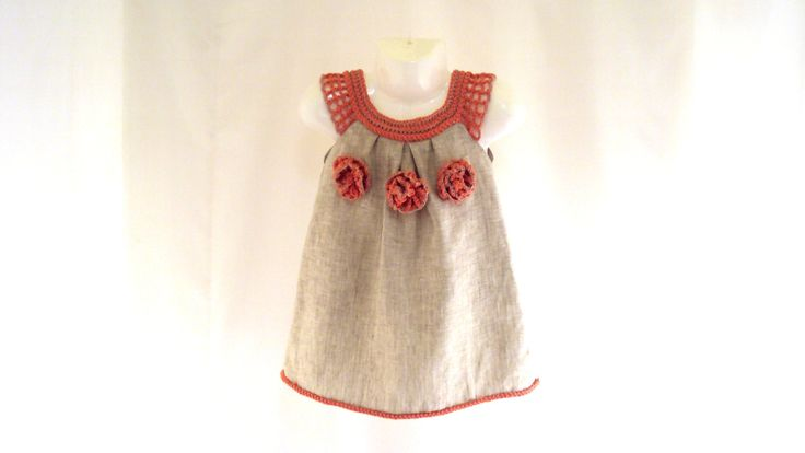 crocheted /sew organic linen baby/ toddler/girl flower dress/tunic with lacy edge. $40.00, via Etsy.