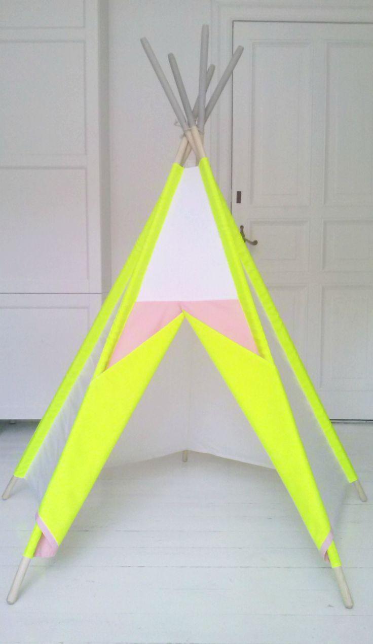 LittleNOMAD's neon teepee available here: littlenomad.pakamera.pl, direct order: hellolittlenomad@gmail.com #handmade #design #kidsroom #playtent #tipi #teepee #wigwam