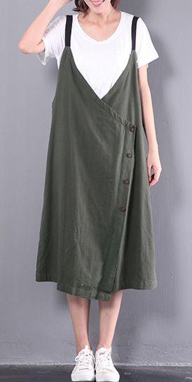 new green  linen dresses sleeveless dress 1