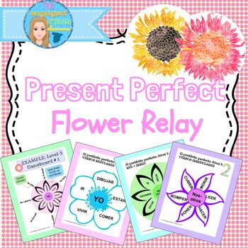 Spanish perfect tenses, Spanish present perfect tense, Present perfect indicative, Spanish Present Perfect Indicative Tense Flower Relay, El Pretérito Perfecto, El presente perfecto, Spanish class games ✿ Present Perfect Tense FLOWER RELAY✿ Interactive whole-group class conjugation game!
