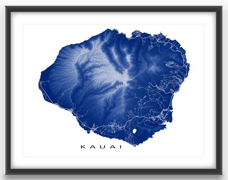 Kauai map print featuring the tropical island of Kauai, Hawaii, USA.  This Kauai art highlights the amazing landscape of this Hawaiian island. You can actually see features such as: * Mount Waialeale (and Kawaikini, the highest point) * the Waimea Canyon * Roads and streets connecting urban centres like Kapaa and Lihue  #Kauai #map #Hawaii
