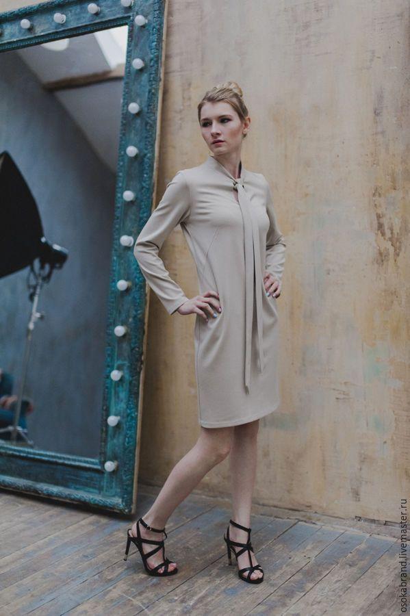 """Купить Платье """"Ральфа"""" - бежевый, однотонный, трикотажное платье, белое платье, бант, Платье с бантом"""