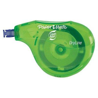 Paper Mate Non-Refillable Liquid Paper DryLine Correction Tape - (10 Per Pack), Green/Purple