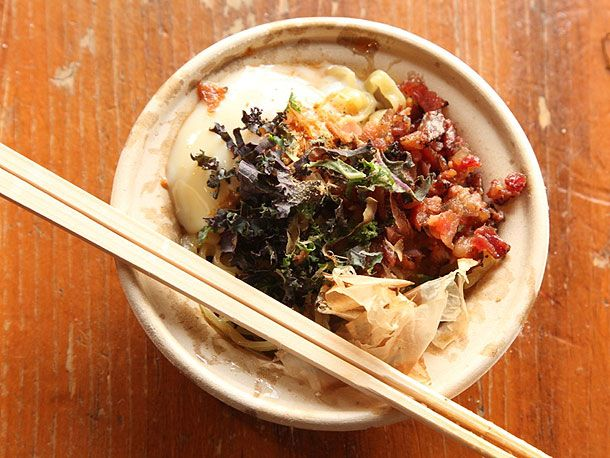 Yuji Ramen - bacon and egg mazemen: slow-cooked soft egg with crisp bacon, shavings of smoked bonito, and greens