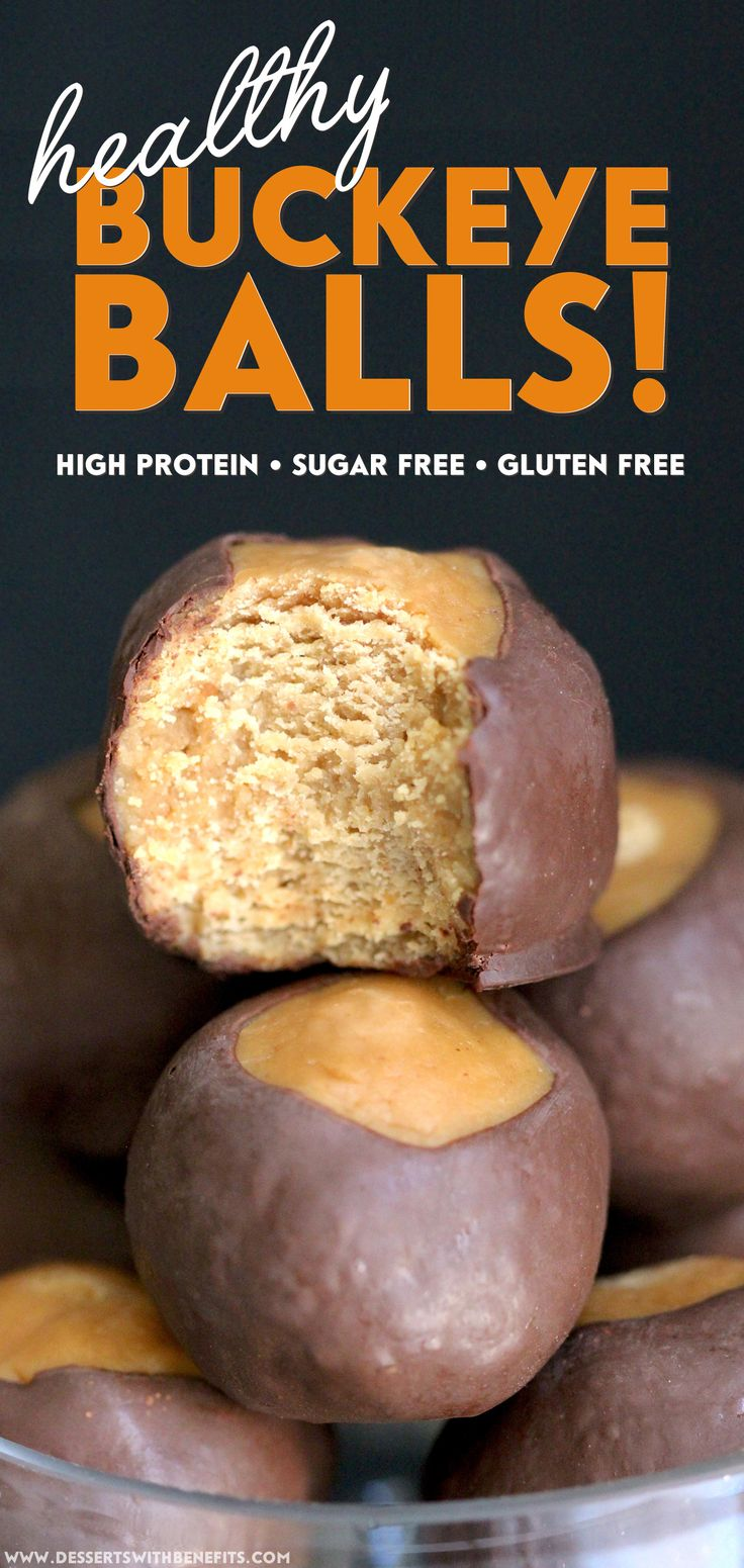 Healthy Buckeye Balls! These sweet, soft, and fudgy, peanut buttery orbs of magic are surrounded by a luxurious layer of rich, decadent dark chocolate.  Once you have a taste, you'll have a hard time believing these no-bake treats are refined sugar free, low carb, high protein, and gluten free!