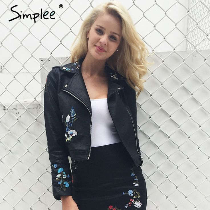 US $27.49 -- Simplee Embroidery faux leather coat Motorcycle zipper wine red leather jacket women Fashion cool outerwear winter jacket 2017 AliExpress.com | Alibaba Group