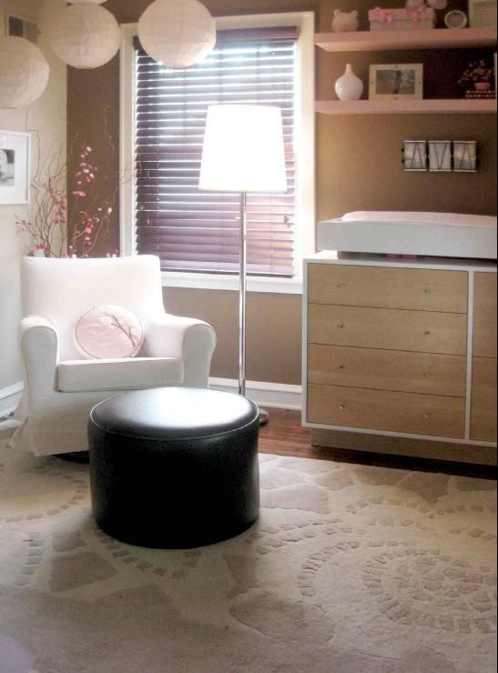 Baby room decor - lots of neutral accents to tone down the colors