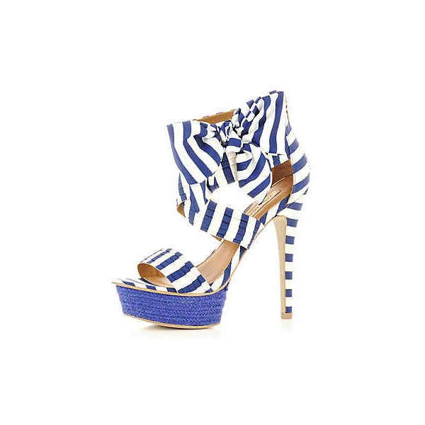 blue stripe bow sandals ($75) ❤ liked on Polyvore featuring shoes, sandals, heels, bow heel shoes, blue heeled shoes, river island, river island shoes and heeled sandals