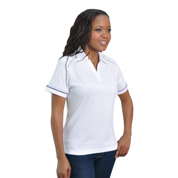 Ladies Flat Piping Polo BRAND: TEE & COTTON has contrast stitching and flat piping detail and elongated open plaquet for comfor