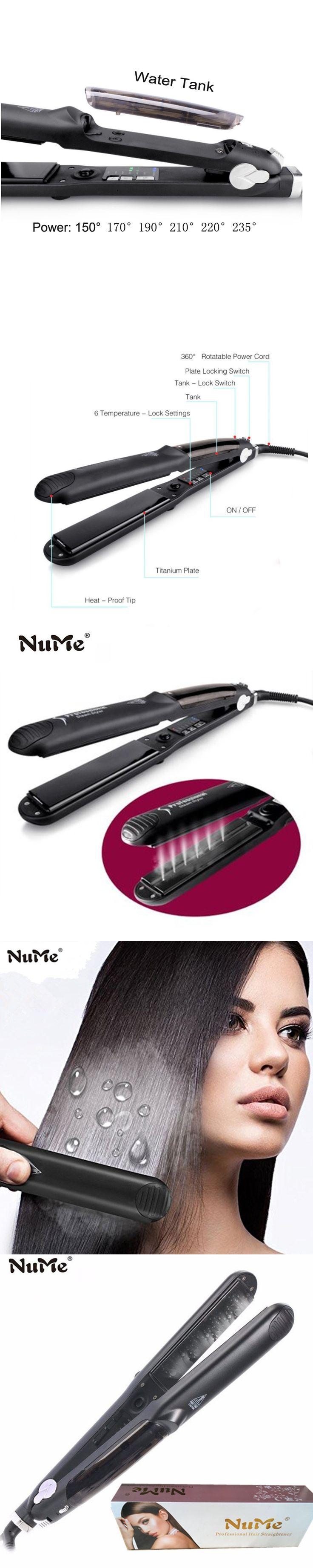 NuMe Hair Straightener Ceramic Steam Flat Iron Argan Oil Vapor Plate Wet/Dry Led Ferro Fast Hair Iron Steamer Styling Tool