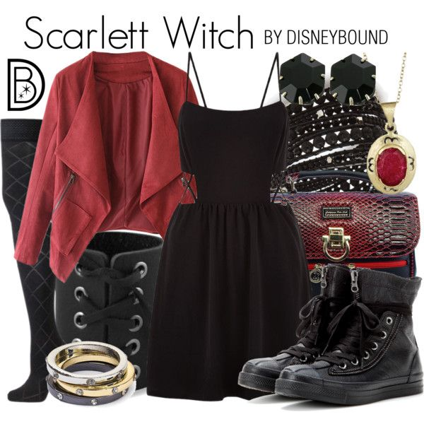Scarlett Witch by leslieakay on Polyvore featuring VienneMilano, Converse, Kendra Scott, NAKAMOL, Aqua, disney, marvel, disneybound and disneycharacter