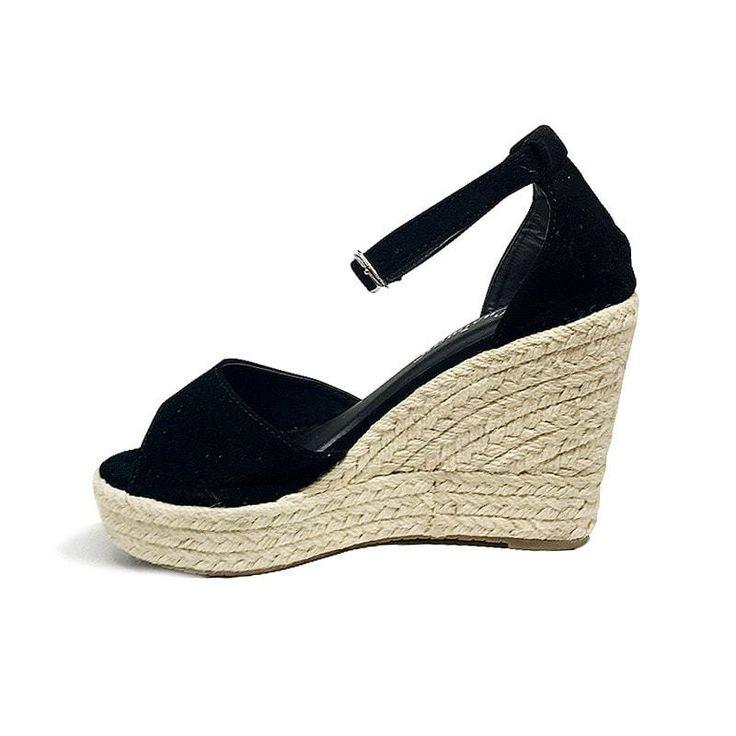 Black Wedges High Platform Open Toe Shoes