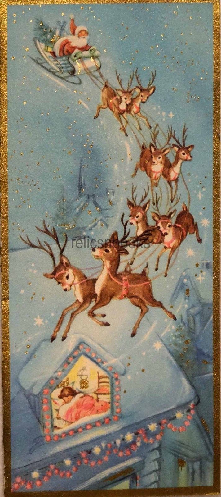2217 60s Unused Santa-Sleigh-Reindeer-Deer-Vintage Christmas Card ...