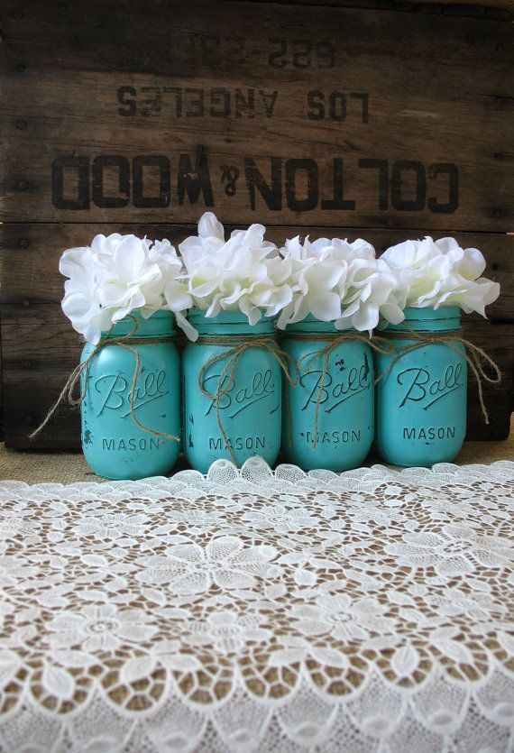 Painted Mason Jars topped with a floral arrangement.and jute rope twine ... #lovinturquoise