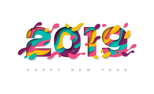 happy new year 2019 with colorful patterns hd free