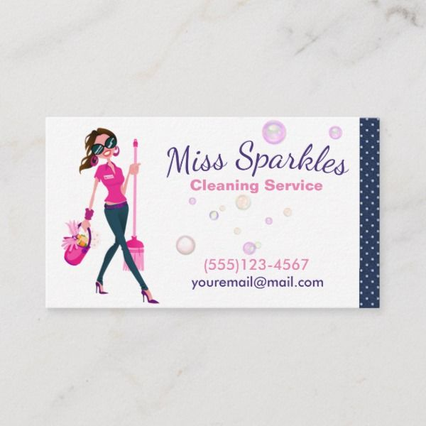 Cleaning Services Maid Business Card Pink Zazzle Com Cleaning Business Cards Colorful Business Card Printing Business Cards