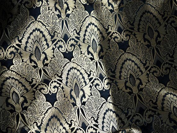 Black Silk Brocade Fabric, Banaras Brocade Silk Black Gold Weaving, Indian Silk, Wedding Dress Fabric, Pure Banarasi Silk Fabric by the Yard