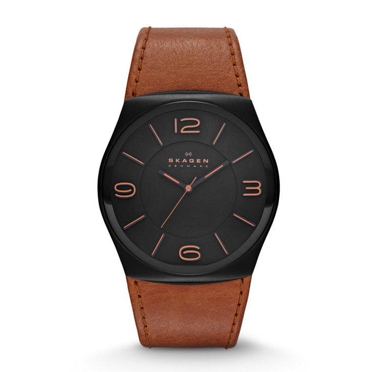 Perspektiv Men's Three-Hand Leather Watch - Brown  Seamlessly blending natural elements with modern design, Perspektiv features a jet-black steel dial connected with an earthy brown leather strap.BEHIND THE DESIGN: The earth-tone coloring on the leather gives it a natural style that's perfect for every day.