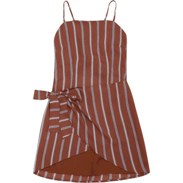 Knotted Stripes Slip Mini Dress (800 DOP) ❤ liked on Polyvore featuring dresses, zaful, stripe, knot dress, stripe dresses, striped dresses, mini dress and mini slip dress