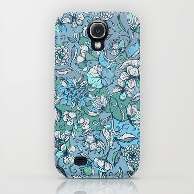 Hand drawn Floral in Blue, Grey & Mint Green iPhone & iPod Case $35.00