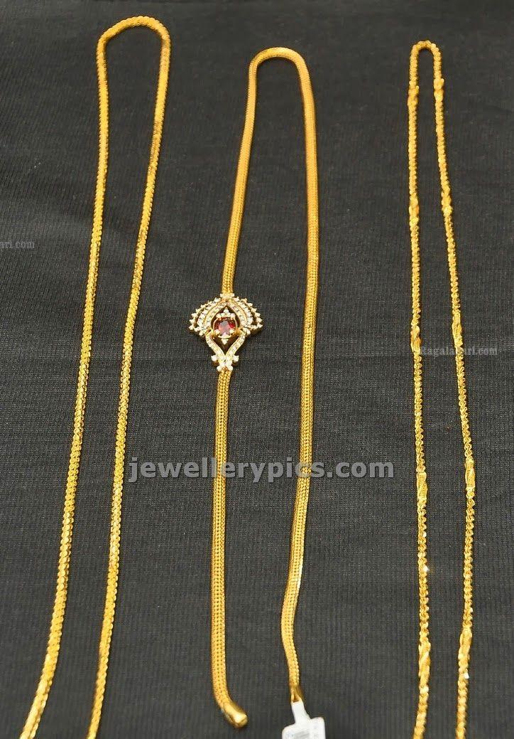 Gold Thali kodi chain design by Hiya jewellers - Latest Jewellery Designs