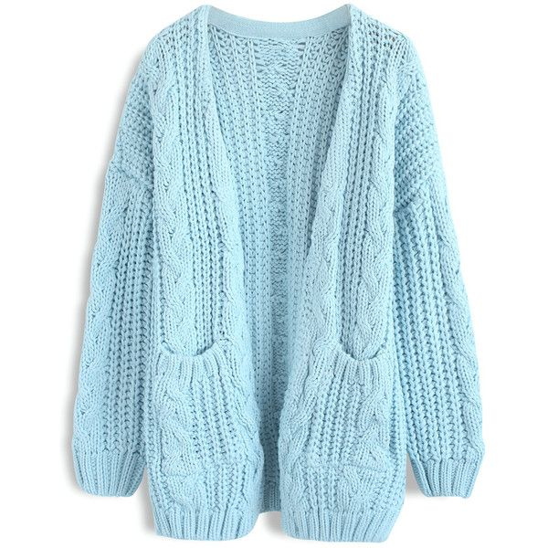 Warm Your Heart Cable Knit Longline Cardigan in Blue ($78) ❤ liked on Polyvore featuring tops, cardigans, cable knit cardigan, open front cardigan, blue top, long line cardigan and cardigan top