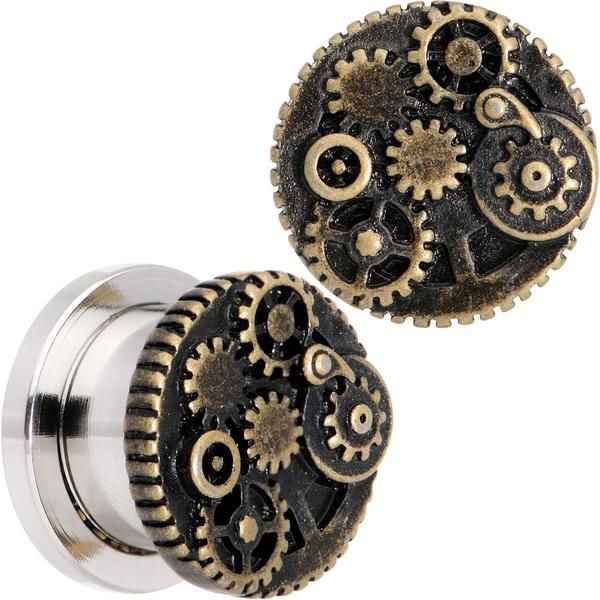 """7/16"""" Steampunk Gears and Gizmos Screw Fit Tunnel Plug Set"""