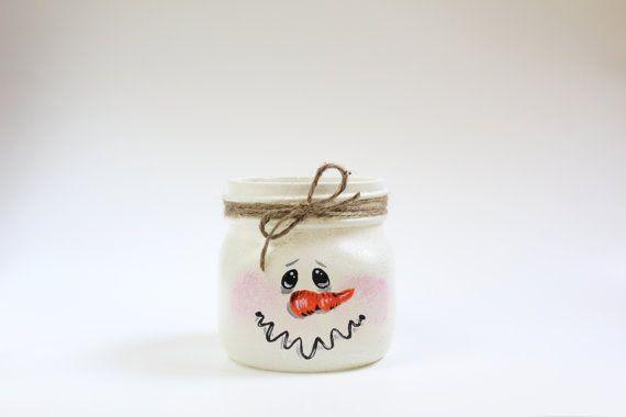 Rustic hand painted snowman mason jar by NatalieLDesigns on Etsy