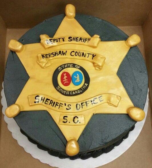 Sheriff's badge cake, all edible, Kershaw County, SC, deputy sheriff.