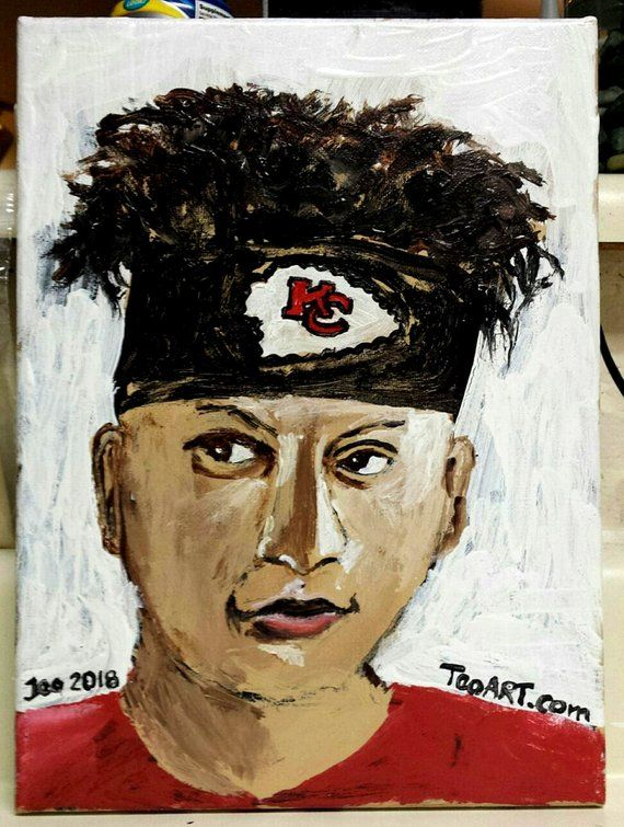 Patrick Mahomes Portrait Painting On Canvas Kansas City