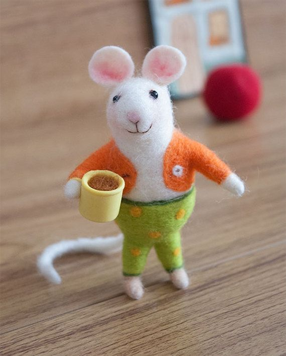 Needle Felted Mouse Mouse With Cup Of Cofee Home Decoration