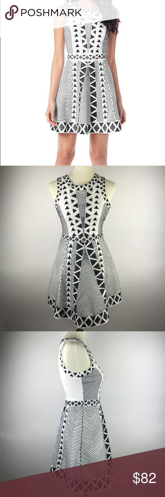 """Parker Kyla Black and White Cocktail Dress This black and white geometric, embroidered, Parker dress is in excellent used condition and was only worn once. It's perfect for summer weddings and would also look great with tights during colder months. The white back offers a great contrast. This dress will get you tons of compliments! Please note minor flaw in fabric, as seen in photos, as well as missing eye at the top of the side zipper.   Measurements taken on seams-  Armpit to Armpit: 16""""…"""