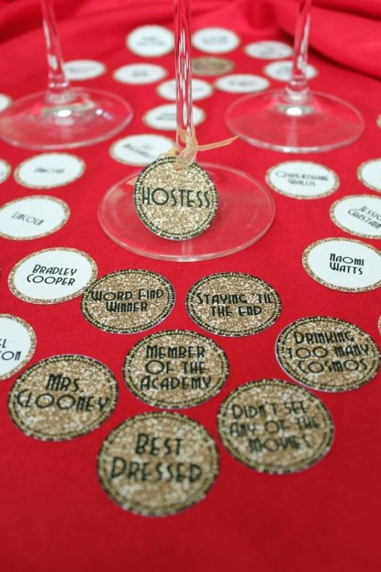 """17 Oscar Party Ideas with free printables. Award your """"Best Dressed"""" guest at the party!"""