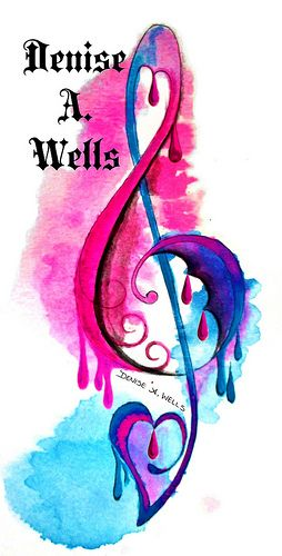 Treble Clef  Watercolor Tattoo Design by Denise A. Wells