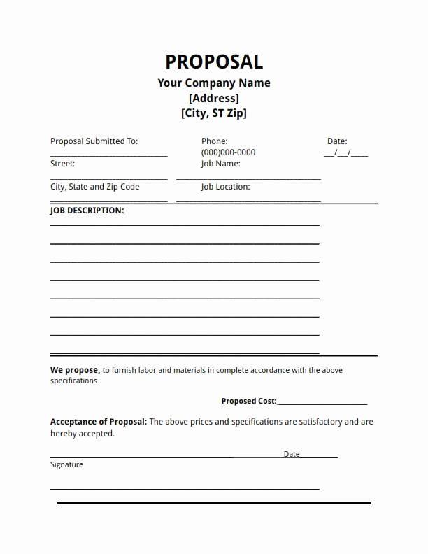 Bid Proposal Template Pdf Fresh Proposal Template Free Download