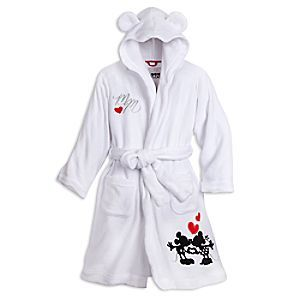 Mickey and Minnie Mouse Hooded Robe for Women | Disney Store Wrap yourself in the warmth and softness of this plush hooded robe that celebrates your heartfelt admiration for Mickey's and Minnie's eternal love. The silhouetted sweethearts make a romantic initial impression with the embroidered ''MM'' art.