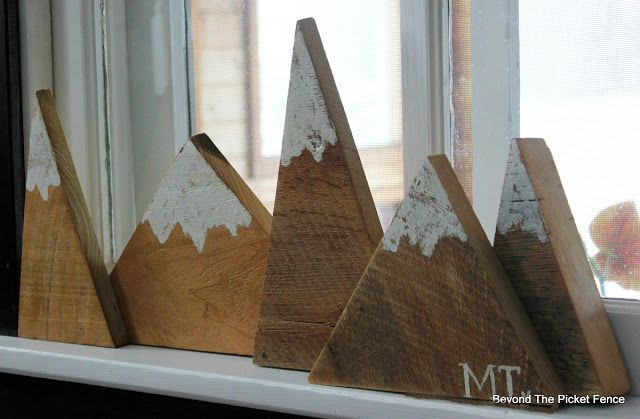 great little mountain project with triangle wood scraps