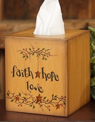 Faith Hope Love Sq Tissue Box Cover Stars & Berries-Tissue Box Cover,Inspirational Home Decor,Country Primitive Home Decor,Faith Hope Love