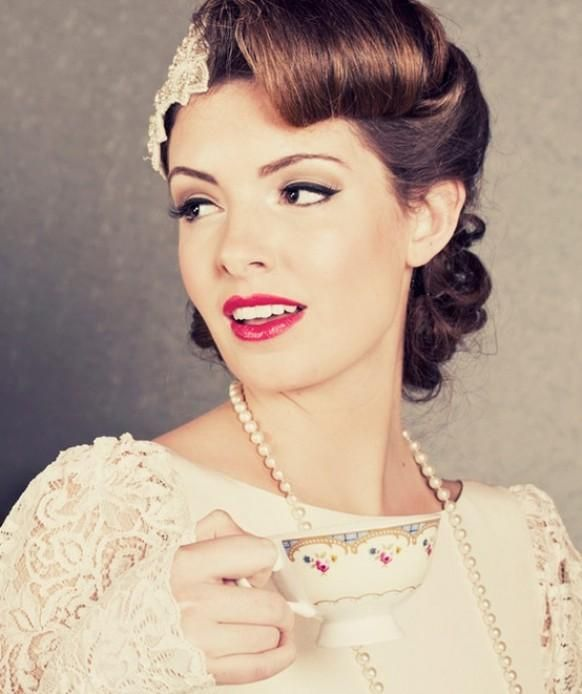 Wedding Hairstyles ~ Vintage pin updo