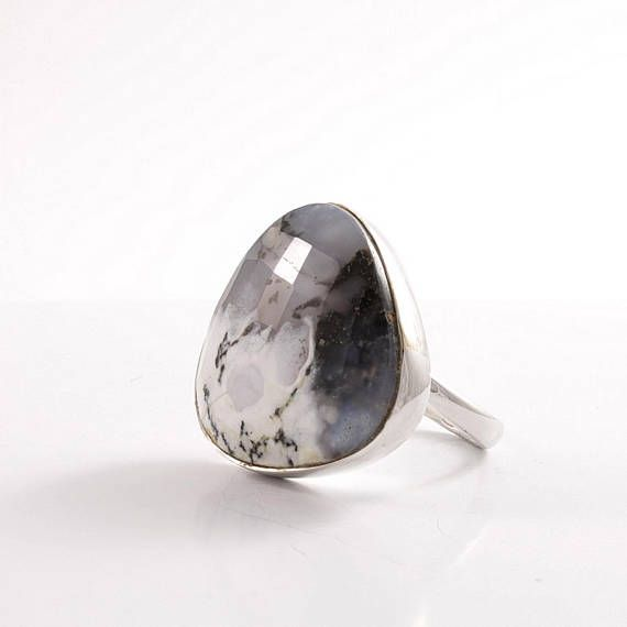 Dendritic Agate statement ring Sterling silver big stone ring