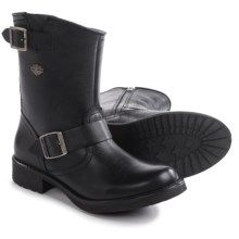 """Harley-Davidson Halsey Harness Motorcycle Boots - Round Toe, 9"""" (For Women) in Black - Closeouts"""