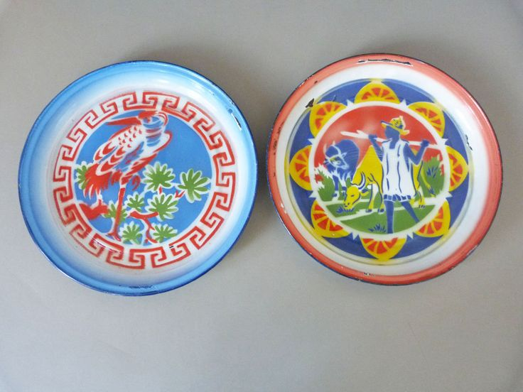 vintage chinese large enamel plates / wall decorations Bumper Harvest by planetutopia on Etsy