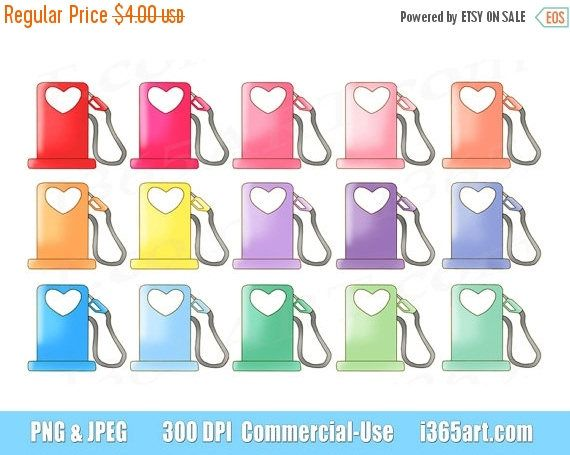 50% OFF Gas Pump Clipart, Fuel Icon Clip art, Gas Station, Hearts, Cute Gasoline, Refill, Planner, Reminders, Petrol, PNG, Commercial by I365art